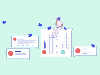 Negative tweets vector birds illustration retweet stress customer complaint twitter