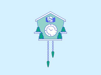 Cuckoo Clock vector illustration trees bird cuckoo clock