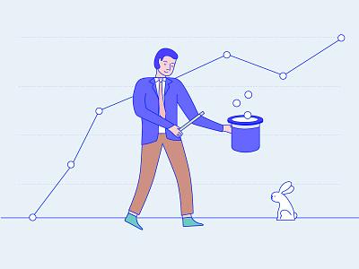 Getting that ROI magic merchant wand hat rabbit illustration vector magic magician graph chart
