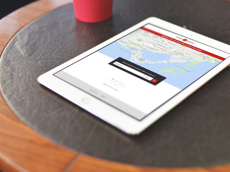 RealVision - Tablet search onboarding location map web app real estate ux design ui
