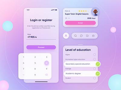 Personnel search application typography glassmorphism ui kit mobile app application colors app design app design mobile ui