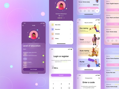 Personnel search application minimal web glassmorphism illustration vector services application app design mobile design ui