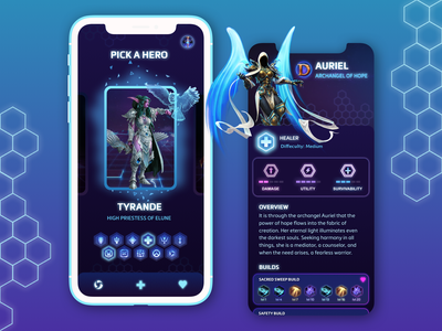 Heroes Of The Storm Builds App builds brand design uidesign ios mobile interface dribble concept app hots color minimal flat clean design simple ui ux