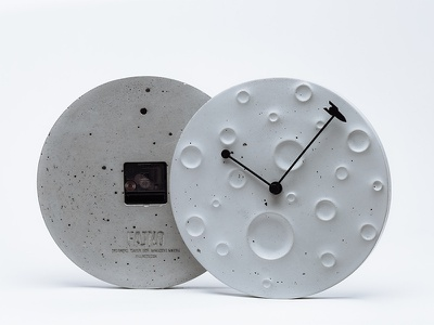 Around the moon in 60 minutes moon rocket concrete decor design fajnodesign fajno tsarukahmadova watch clock