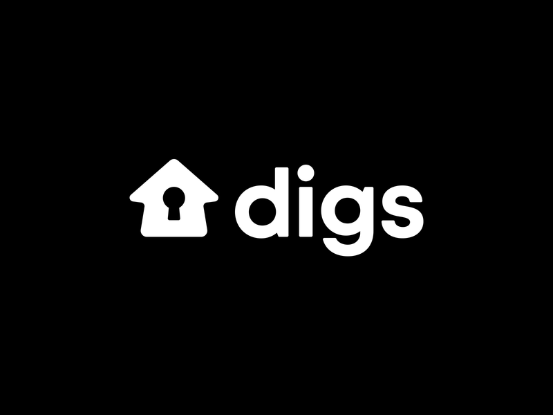 Digs Branding clean vector white app simple startup home key house logotype logo branding