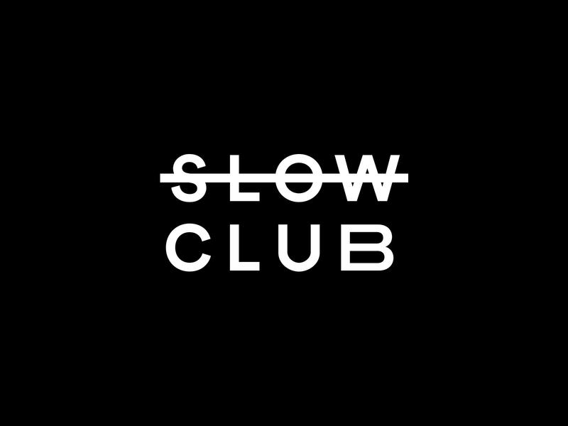 Slow Club Branding grid mirror club blackandwhite white black simple clean minimal logotype logo branding