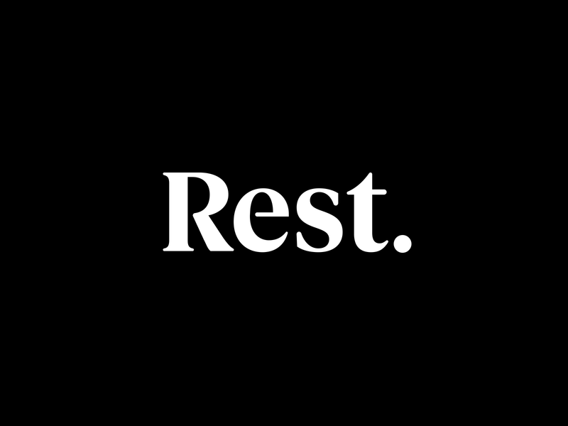 Rest Goods Branding minimal clean period simple blackandwhite white black serif logotype logo branding