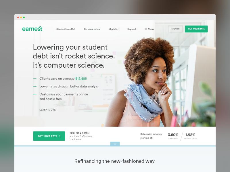 Earnest student loans dribbble