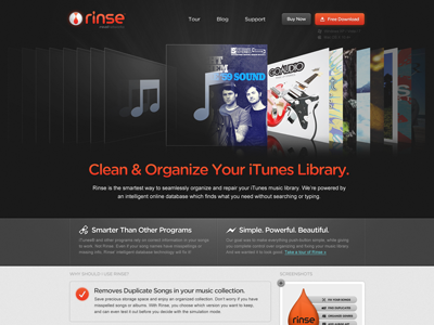 Rejected Homepage Mockup black grey orange red blue reflective coverflow music cd
