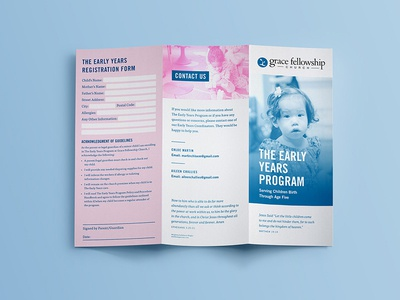 Early Years Program Brochure print trifold church brochure
