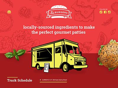 Food truck Landing Page Design visual design web burgers truck food landing page food truck