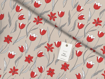 Red Tulip. Flower pattern. textile design pattern design vector flowers ivory background textile fabric pattern tulips
