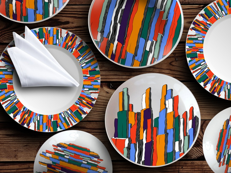 The design of the set of plates abstract print multicolored mountains abstraction home decor tableware plates set design pattern design pattern