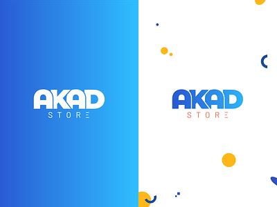 Akad Store Logo blue background blue akadstore akad muslimgoods muslims design logo vector minimal logo minimalist logo minimal logo design flat branding