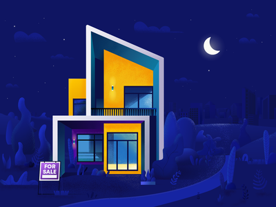 Modern house at night property estate flat architecture house illustration