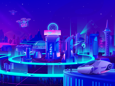 Futuristic space beauty city space future spaceship city beauty cyber robot