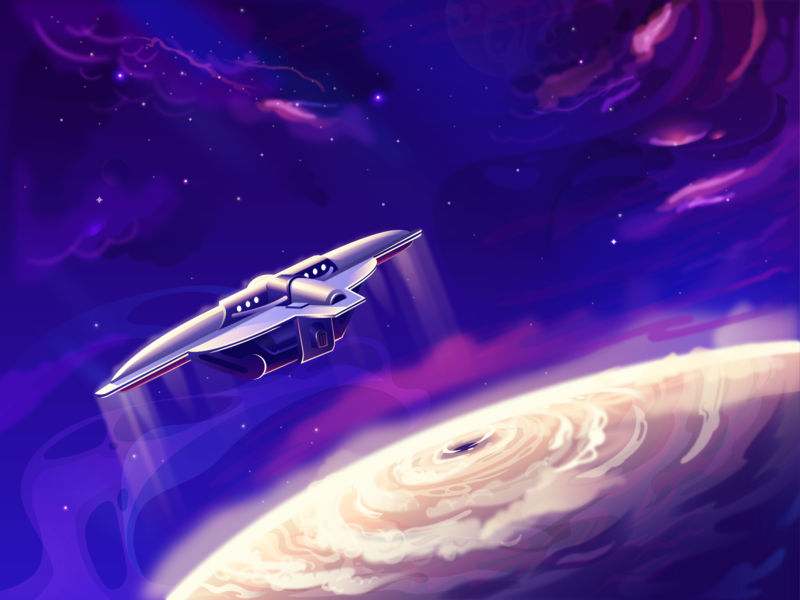 Space journey begins tech future planet spaceship illustration space