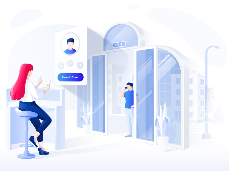 Video intercom solution doors people human intercom illustration