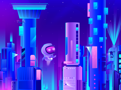 Robot in the city drone glow neon city beauty cyber robot illustration