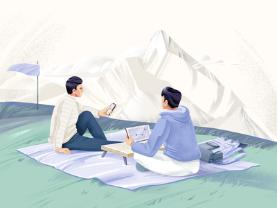 Outdoors co-working character mountains nature people social travel adobe illustrator illustration