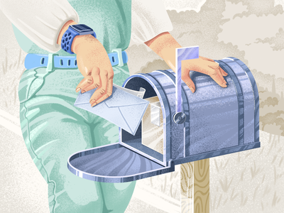 Always in touch mailbox art hand vintage retro social mail illustration