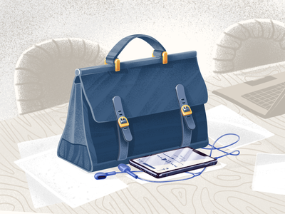 Office briefcase art work music case office briefcase business illustration