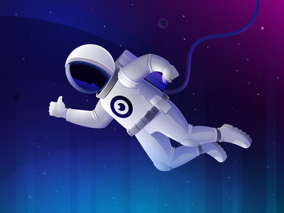 Astronaut in outer space planets stars galaxy universe digital astronaut space illustration