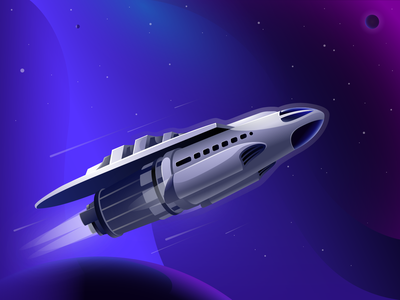 Spaceship at supersonic speed planets galaxy universe stars space speed illustration spaceship
