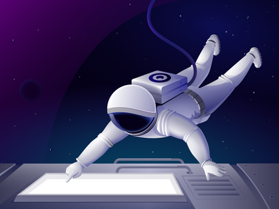 Astronaut on a spaceship space illustration space station galaxy stars planets spaceship astronaut