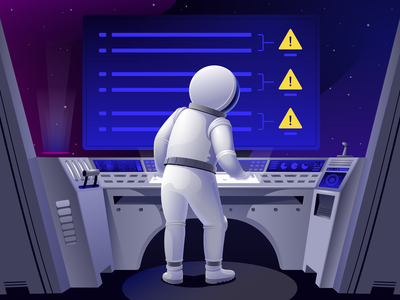 Astronaut solves technical problems digital control point spaceship illustration space problem issue astronaut