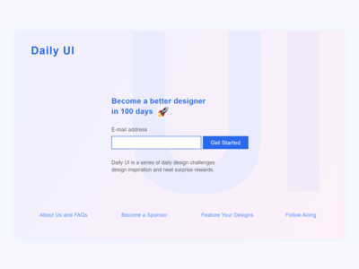 Daily UI :: 100 - Redesign Daily UI Landing Page