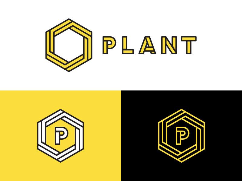 plant plant construction hexagon logo yellow