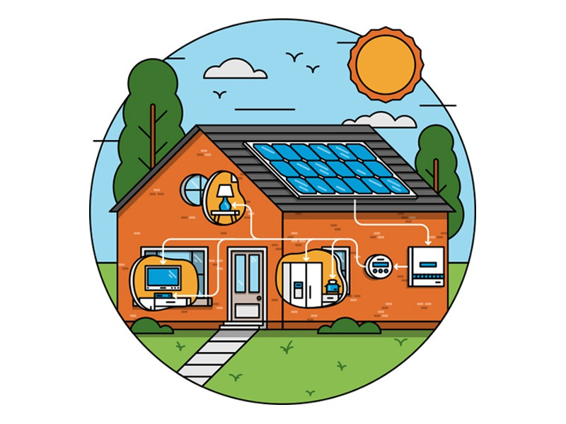solar house appliances meter sun illustration house home solar