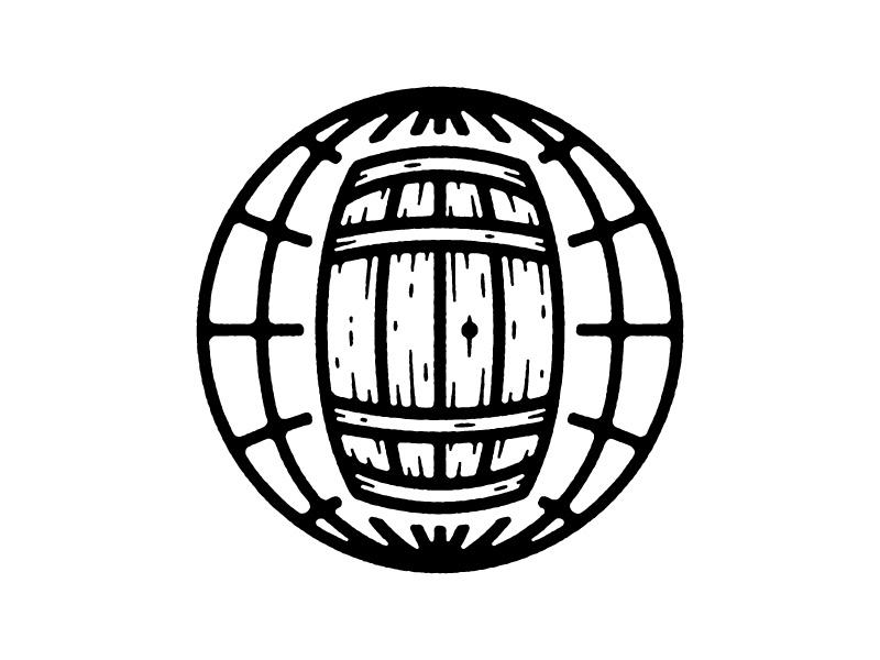 global wine icon logo world globe barrel wine