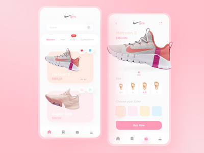 Girls Shop App design figmadesign adobexd application design application ui shoes app clean ui minimalism interactive application website app design ui  ux app uidesign uixdesign ux ui user interface design user experience userinterface
