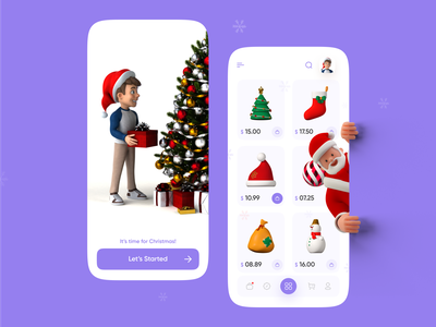 Chritmas Mobile Application christmas tree santa cruz santa user interface app ui  ux webdesign userinterface user interface design user experience app design uidesign mobile ui christmas