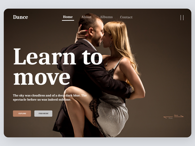 Dance landing Page ux typography lading page ui landing page concept