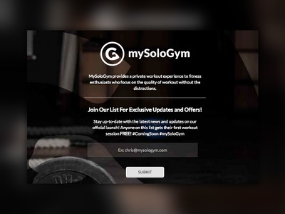 Coming Soon Landing Page for mySoloGym design branding coming soon page coming soon landing page