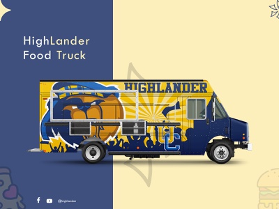 High Lander food truck banner dribbble challenge truck food truck food weeklywarmup dailyui dribbbleweeklywarmup weekly warm-up weeklyui clean trending minimal 2d website design app branding illustration ux ui