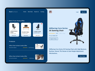 Work from home furniture rentals website furniture design chairs work from home jobs rentals work from home jobs rentals furniture work from home landing page website design minimal website design branding illustration ux ui