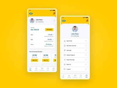 Online bill payments app mobile app mobile ui application ui app design online bills online bills online payments recharge yellow clean trending 2d interaction design minimal app branding illustration ux ui
