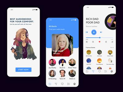 Audio book app android app design android ios 7 application appdesign books app listen audiobook audio book design 2d trending minimal interaction design app branding illustration ux ui