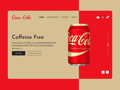 Coca Cola  landing page website design landing page color 2021 trending 2021 design concept red drinks food and beverages design minimal app interaction design branding illustration ux ui beverages coca cola