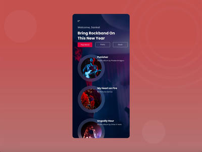 Rockband music app band ui ux application app ui music app music player songs tunes app designer rockband music design app app design trending minimal app interaction design branding illustration ux ui
