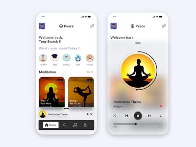 Peace App gym exercise best ui clean fresh calming peaceful music app music songs meditation app design trending minimal app interaction design branding illustration ux ui