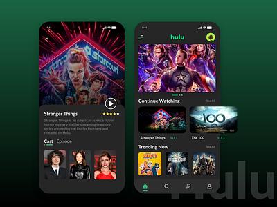 Hulu app redesign concept fun entertainment netflix movies app serials series web series songs movies 2d design trending app minimal interaction design branding illustration ux ui hulu