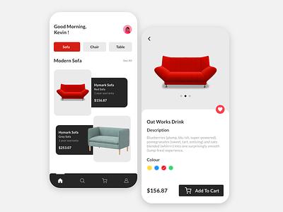 Furniture store 2021 fresh clean furniture app shop furniture store chairs wooden sofa furniture 2d design trending minimal app interaction design branding illustration ux ui