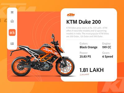 KTM Duke bike specifications page brand web page design vehicle fresh plain orange duke ebike bike web design website design 2d trending minimal interaction design branding illustration ux ui