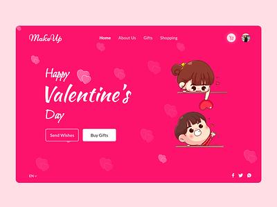 Valentine's day web design wishes web designer trending valentinesday design pink design day event gifts chocolates heart rose valentine valentinesday web design interaction design branding illustration ux ui