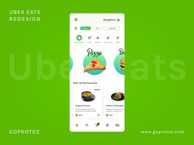 Ubereats food app redesign concept fresh plain minimalism goprotoz android ios mobile food app design ux ui illustration interaction design branding green uber clone uber design food ubereats uber